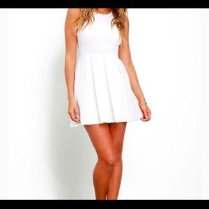 Lulus White Flare Cut Out Back Mini Dress S